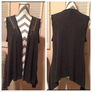 Studded sleeveless grey open front cardigan